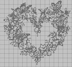 Coeur papillons .Diagramme point de croix