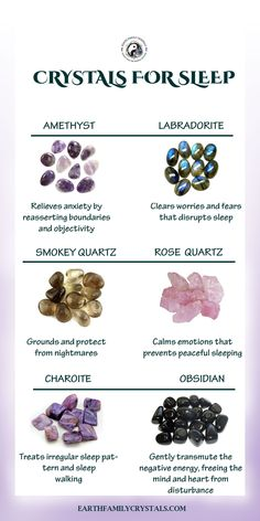 Crystals for Sleep Crystal Uses, Crystal Healing Stones, Crystal Magic, Crystal Shop, Healing Crystal Jewelry, Crystals For Healing, Anxiety Crystals, Cleanse Crystals, Stones For Anxiety