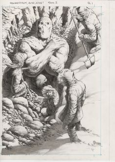 Frankenstein Alive by Bernie Wrightson Comic Book Artists, Comic Artist, Comic Books Art, Horror Comics, Horror Art, Gravure Illustration, Illustration Art, Fantasy Kunst, Fantasy Art