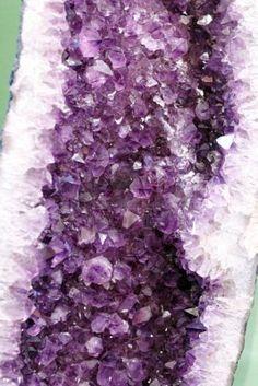 Gemme di cristallo di quarzo ametista lavanda in una grande formazione naturale con guscio. Archivio Fotografico