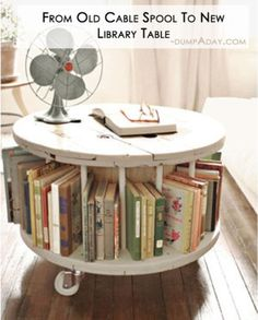 DIY old cable spool to library table.