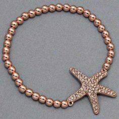 "Amazon.com: Designer Inspired Rosegold Beaded Starfish Bracelet. Rhinestone Decorated Charm. Size 1"" H.: Jewelry"