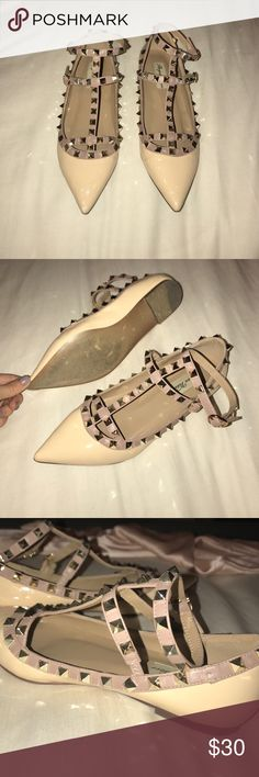 Pointed toe flats with studs Pointed toe patent nude ballet flats. Has gold studs on straps. One strap goes around the ankle. Purchased from amazon originally. Size 37 and worn twice. There's one stud missing shown in the photo. No trades please! Shoes Flats & Loafers