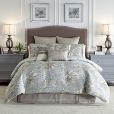 The Alexandria Bedding Collection is a fresh over-scaled floral pattern in shades of soft blue, ivory and taupe. This classic yet updated ensemble will add newness and brilliance to any room. The comforter and shams are trimmed with an exquisitely woven ivory cord and reverse to a printed tile pattern. The bed skirt is constructed of the basket weave embellished with soutache for added elegance. #CroscillBedding #Fresh #Floral