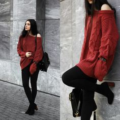 Holynights Claudia - Shein Brick Red Sweater, Daniel Wellington Watch, Vipme Bag, Shuzee Boots - Brick