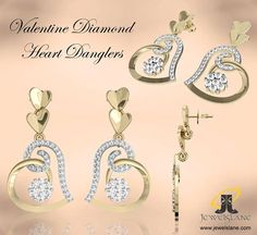 Buy Valentine #Diamond Heart Dangle #Earring.. only at #Jewelslane!!