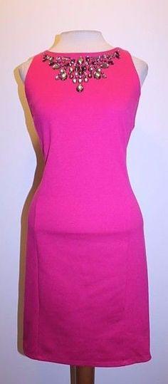 Jennifer Lopez Dress 12 Pink Magenta Rhinestone Jewel Collar Sleeveless Dress #JenniferLopez #Sheath #Cocktail