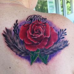 Rose Feathers Tattoo by Diane Lange at Moonlight tattoo Seaville NJ