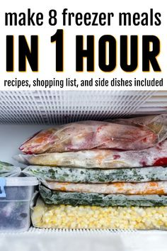 8 delicious slow cooker freezer meals that can be put together in just one hour. These recipes simple ingredients that your family will love. Slow Cooker Freezer Meals, Make Ahead Freezer Meals, Dump Meals, Freezer Cooking, Slow Cooker Recipes, Crockpot Recipes, Easy Meals, Cooking Recipes, Freezer Recipes