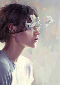 Aykut Aydoğdu - Unnamed - Digital painting - I really like the soft, cool colour palette giving the piece a calm atmosphere. I also like the simplicity of the work, however there is still a high level of realistic detail in it. Portrait Art, Portraits, Art Et Design, Graphic Design, Arte Sketchbook, Psy Art, Surreal Art, Art Plastique, Oeuvre D'art