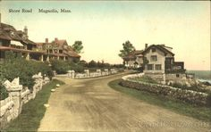 This is Shore Road in Magnolia in the days before it was paved. It is such a narrow road that it has been one way for decades now. When I was a kid, there were the remnants of an old pool in the rocks on the ocean side of Shore Rd. Gloucester, North Shore, Old Pictures, Vintage Postcards, The Rock, Royalty Free Images, Magnolia, The Past, Ocean
