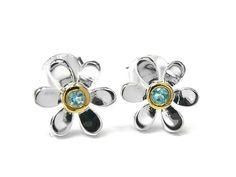 Silver Earrings - Pretty Daisy Topaz Topaz Gemstone, Sterling Silver Earrings, Birthstones, Swarovski Crystals, Studs, Daisy, Gemstones, Pendant, Pretty