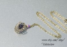 flower cap tear drop facet pear shape deep purple by Violetastore, $25.00