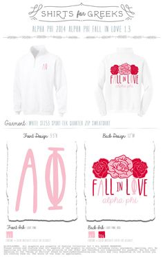 Image of PREORDER Alpha Phi Fall In Love Quarter Zip - White