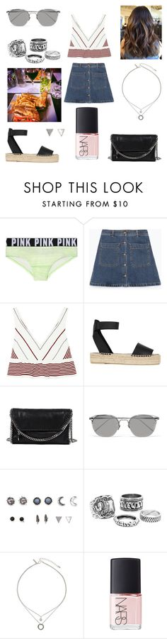 """25/07/16"" by milena-serranista ❤ liked on Polyvore featuring Victoria's Secret PINK, Zara, Elizabeth and James, Vince, STELLA McCARTNEY, Linda Farrow, With Love From CA, Topshop and NARS Cosmetics"