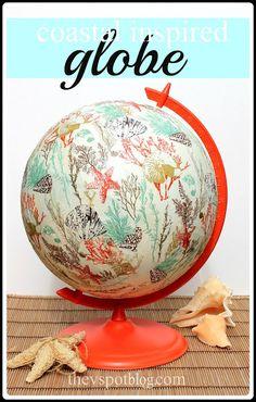 The V Spot: An old globe gets a coastal inspired make-over. (Using paper napkins and Mod Podge.) #bhgsummer