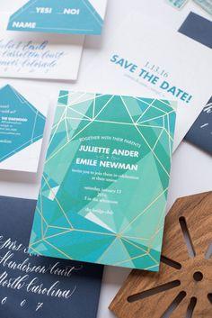 geometric, gold foil, wedding invitation, green, blue, foil pressed, flat printed, modern, bright, unique