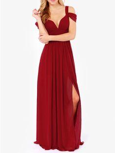maxi robe épaule dénudé -rouge bordeaux 21.66