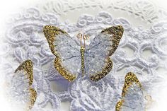 This listing is for 3 beautiful Gold Tinsel Glitter Glass Butterflies. They make…