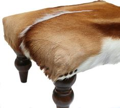 African Springbok Ottoman Cowhide Ottoman Cowhide Stool Cowhide Footstool Africa Leather Hide Fur Pelt Unique Furniture Rustic Home Decor Cowhide Ottoman, Cowhide Decor, Cowhide Furniture, Leather Ottoman, Handmade Ottomans, African Furniture, Exotic Homes, Tanning Solution, Decor Pad
