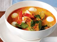 Creamy Tom Yum with Shrimp and Quail Eggs - A combination of spicy, salty, and sour flavors, this soup is a real treat for the taste buds.