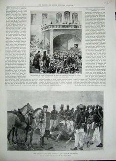 Antique Print 1896 Crete Christian Refugees Canea Dongola Army Death