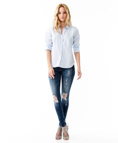 Match the blue shirt with ripped denim | Gina Tricot New Arrivals | www.ginatricot.com | #ginatricot