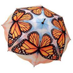 Galleria Art Print Walking Length Umbrella - Monarch Butterfly