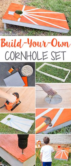 Step-by-step directions to build your own cornhole board and sew beanbags. Enjoy family time outdoors with a game of cornhole and tasty snacks!