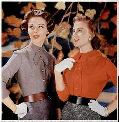 1956 ladies in 3/4 sleeve blouses and gloves