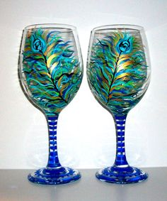 Handpainted Wine Glasses Peacock Feathers by SharonsCustomArtwork, $45.00
