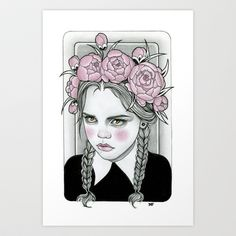 Wednesday Addams Art Print by Rose Ellen Swenson - $15.08