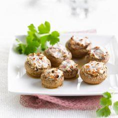 Champignons de Paris farcis au chèvre et au jambon
