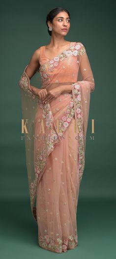 Buy Online from the link below. We ship worldwide (Free Shipping over US$100)  Click Anywhere to Tag Sherbet-Peach-Saree-In-Net-With-Resham-Embroidered-Floral-Border-Online-Kalki-Fashion