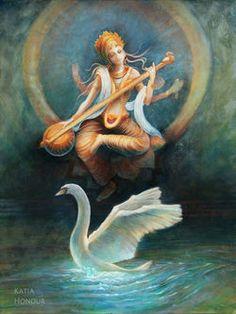 Saraswati Devi 637 by KatiaHonour on DeviantArt Saraswati Painting, Krishna Painting, Krishna Art, Shiva Art, Indian Goddess, Goddess Art, Orisha, Arte Dope, Saraswati Goddess