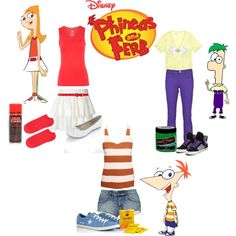 phineas and ferb. Love the Candice one! Disney Bound Outfits, Disney Inspired Outfits, Disney Style, Phineas And Ferb Costume, Phineas Et Ferb, Family Halloween Costumes, Diy Costumes, Group Costumes, Halloween Ideas