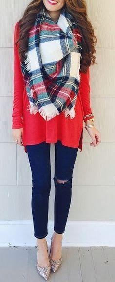 Plaid Blanket Scarf + Red Sweater + Black Denim                                                                             Source