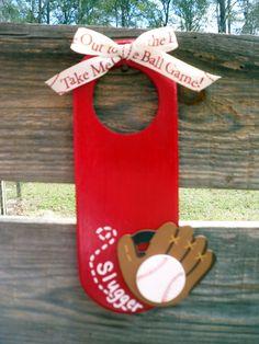 Kids Room Theme -- Baseball door hanger $10.00. PERSONALIZE IT!!