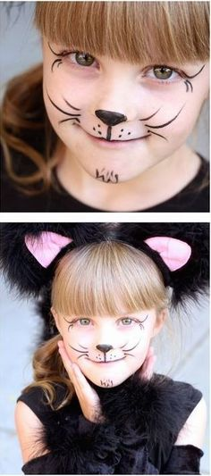 Carnival children's makeup tips to get inspired! Mouse Face Paint, Kitty Face Paint, Simple Cat Face Paint, Face Painting Designs, Body Painting, Painting Patterns, Halloween Make Up, Halloween Face Makeup, Simple Halloween Face Painting