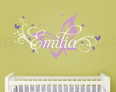 Butterfly and Custom Name Wall Decal Butterfly by InAnInstantArt