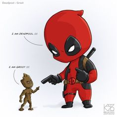 #Little #Deadpool #Fan #Art. (Deadpool v Groot) By: Kavizo. (THE * 3 * STÅR * ÅWARD OF: AW YEAH, IT'S MAJOR ÅWESOMENESS!!!™)[THANK Ü 4 PINNING!!!ÅÅÅ+(OB4E)