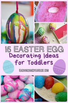 Looking for some fun toddler Easter egg decorating ideas? These alternatives to traditional Easter egg dyeing are perfect for toddlers, while also adding some fun new designs to your decorations. Easter Egg Dye, Easter Crafts For Kids, Easter Activities For Toddlers, Easter Cake, Spring Activities, Easter Ideas, Toddler Activities, Learning Activities, Easter Egg Hunt Clues