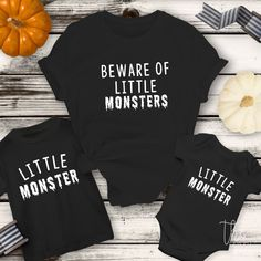 Beware of Little Monsters shirt / Mommy me matching / Mother daughter son matching shirts / New mom / Halloween Matching shirts - Mutter Mom And Me Shirts, Baby Shirts, Shirts For Girls, Kids Shirts, Mom And Son Outfits, Family Outfits, Gaucho, Halloween Shirts For Boys, Halloween 2019