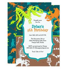 Dinosaur Dig Birthday Party Invitation Dinosaur Party Supplies, Personalised Party Invitations, Dinosaur Birthday Invitations, Dinosaur Birthday Party, Birthday Invitation Templates, 5th Birthday Party Ideas, Birthday Parties, 7th Birthday, Ideas