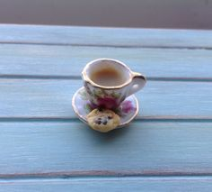 Miniature 1:12 Scale Food - Cup of Tea With a Cookie by DinkyDinerMinis on Etsy