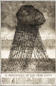 alexander brodsky & ilya utkin - a monument of the year 2000 Land Art, Paper Architecture, Architecture Drawings, Silkscreen, Printmaking, Location, Concept Art, Art Drawings, Contemporary Art