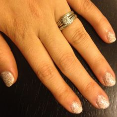 I painted my dear friend Samantha's nails for a wedding she's in. It's a fun stamped mani! Nail Polish: Essie - Ballet Slippers, OPI - Lucern-Tainly Look Marvelous