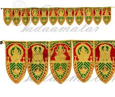 Aluminum foil gold and green mango leaf design toran. Stage Decorations, Festival Decorations, Artificial Garland, Indian Doors, India Design, Pooja Rooms, Indian Festivals, Leaf Design, Deities
