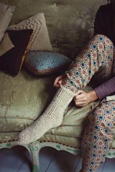 Warm and cozy socks + floral lounge pants.