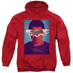 BATMAN VS SUPERMAN/SUPERMAN POSTER-ADULT PULL-OVER HOODIE-RED